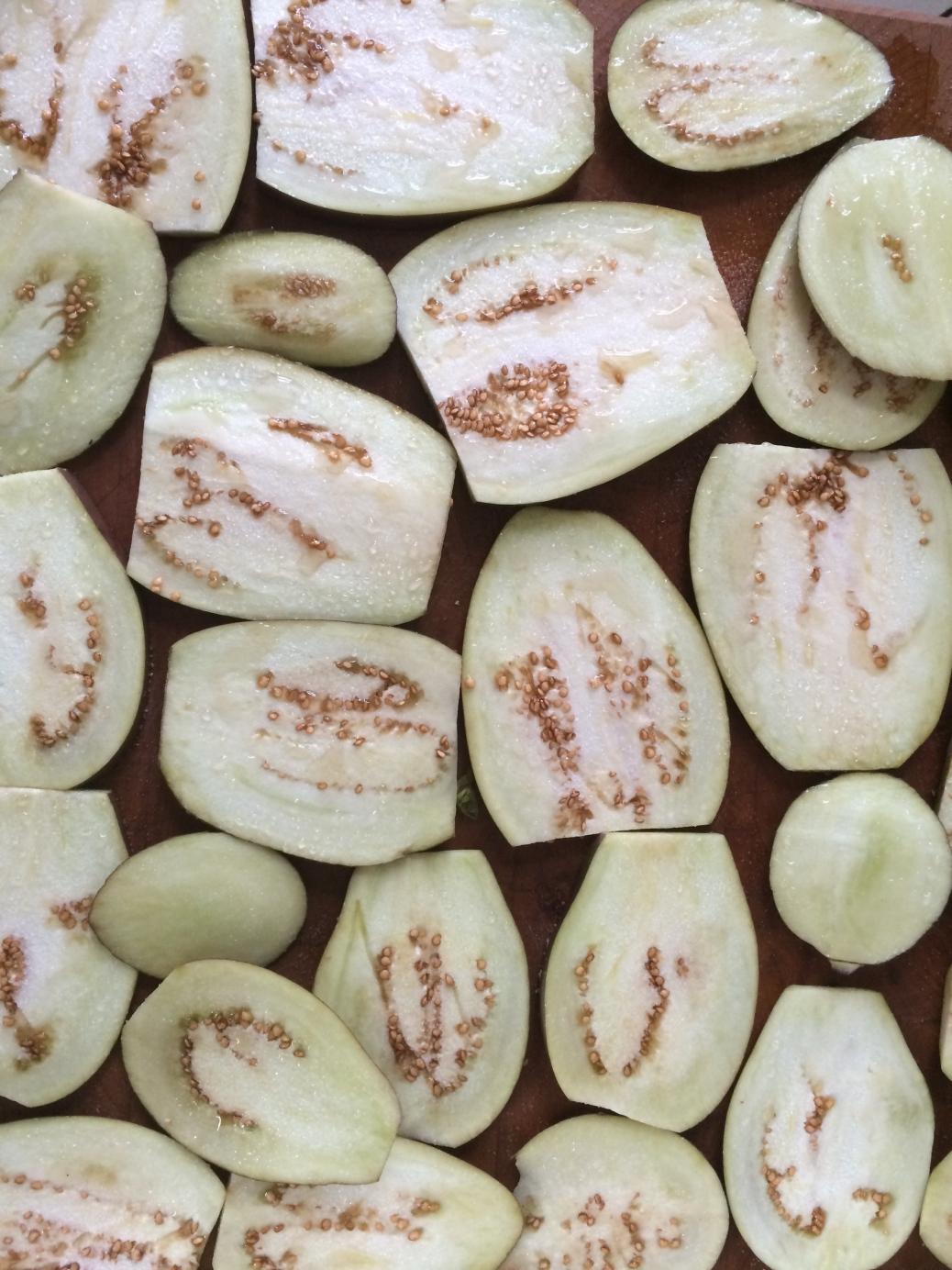 Sweaty eggplant slices