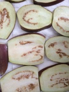 Just-cut eggplant slices